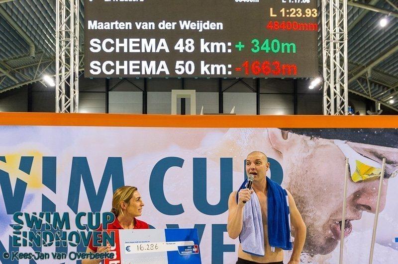 Van der Weijden lijkt onoverwinnelijk in zwemmarathon voor KWF